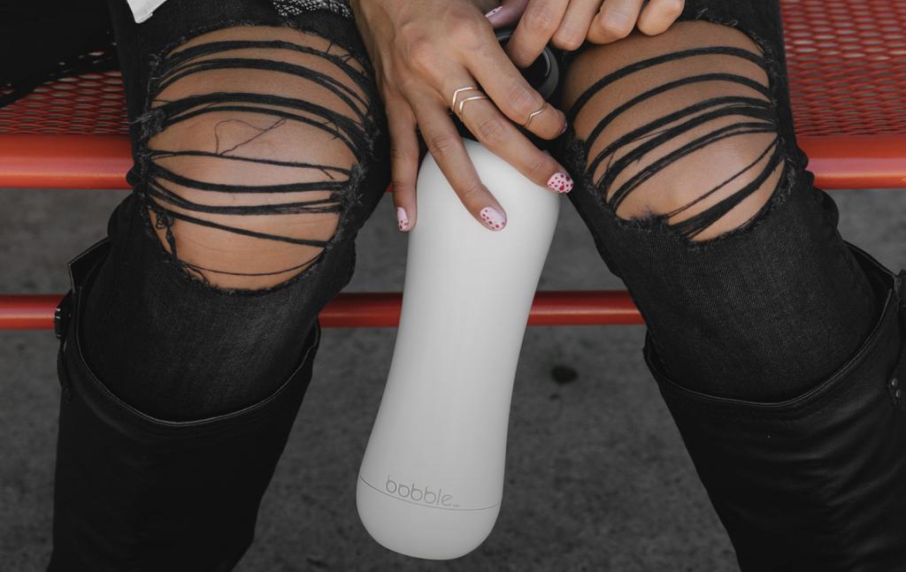 branded bobble bottle in white